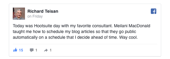 Rick Teisan left this little testimonial for me on Facebook. Thanks Rick!