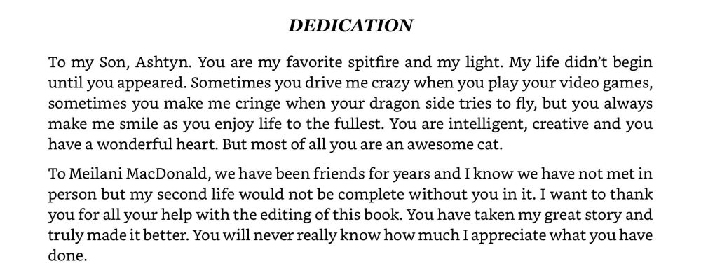 Dedication from JA Edwards in her book