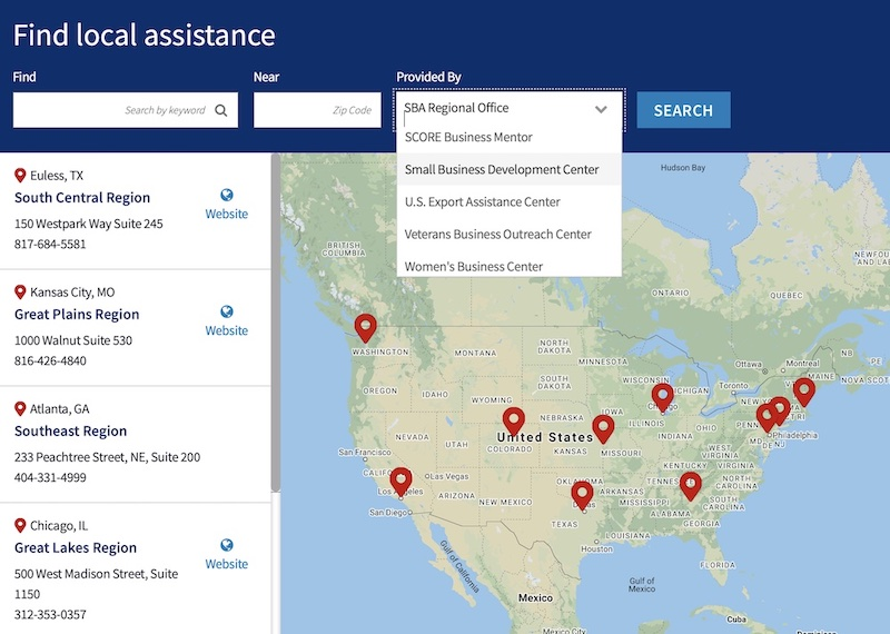 "pic of the SBA ""Find Local Assistance"" map which lists local offices providing assistance from various organizations nationwide."
